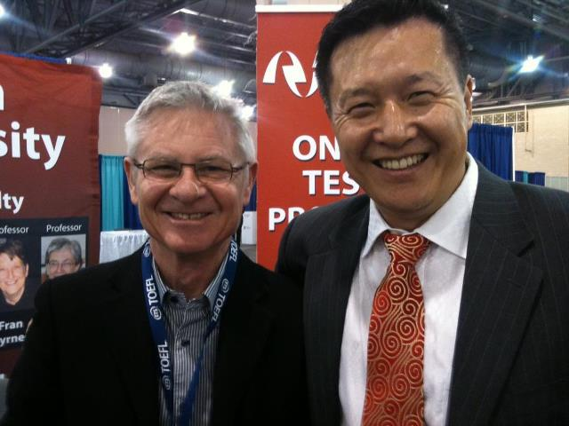David Nunan and Jun Liu at Anaheim University TESOL Conference Booth
